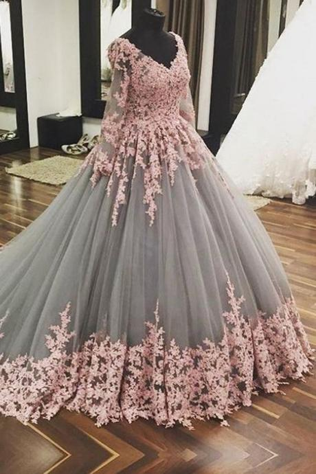 Ball Gown Chaple Train V Neck Long Sleeve Layers Tulle Appliques Prom Dress,Party Dress M7150