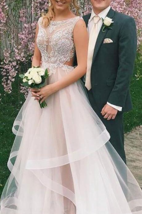 organza scoop sleeveless wedding dresses with appliques bridal gowns M7211