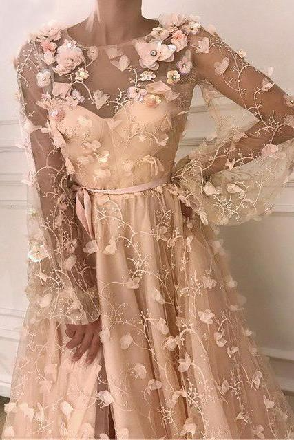 CHIC A-LINE SCOOP LONG SLEEVE PROM DRESS WITH FLORAL PROM DRESSES LONG EVENING DRESS M7289