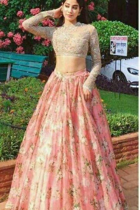 Two Piece Lace Prom Dress Indian Gold And Pink Prom Dress With Sleeve M7310