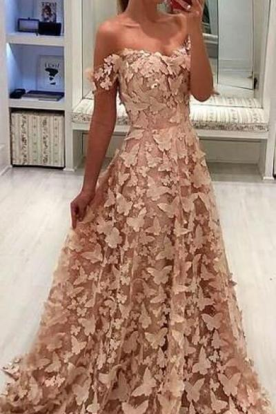 Off Shoulder Blush Pink 3D Butterfly Applique A-line Prom Dresses M7316