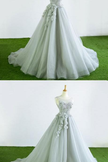 Gray tulle court train winter formal prom dress, halter 3D flower evening dress M7336