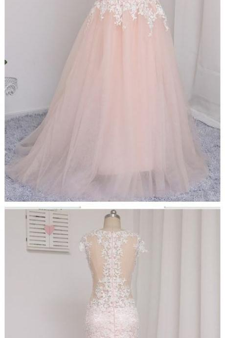 Baby Pink Appliques Mermaid Evening Dress, Formal Long Prom Dresses, Wedding Party Gown M7339