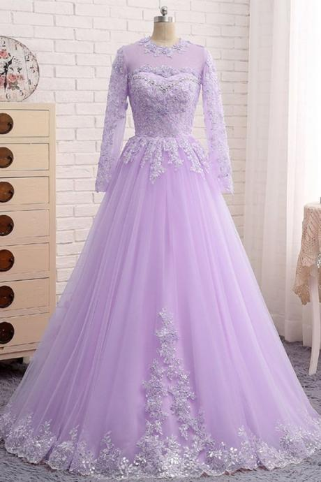 Lavender Tulle Long Sleeve Beaded Formal Prom Dress With Lace Applique M7342