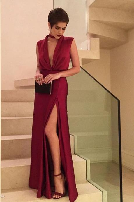 Sexy Burgundy Prom Dress,Halter Long Prom Dresses, Halter Prom Dress Chiffon gown M7359