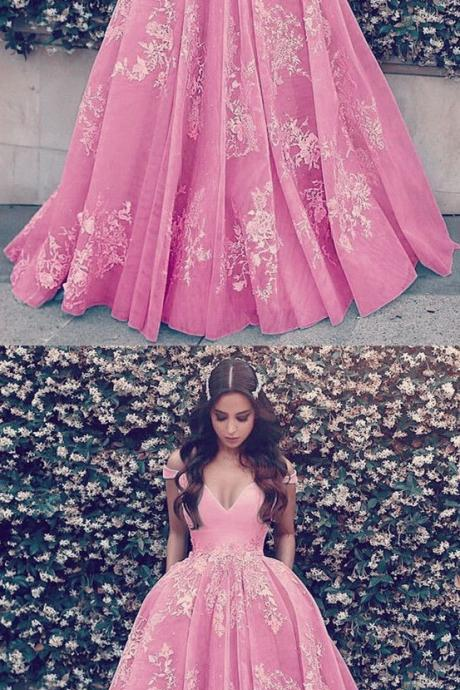 Baby Pink Tulle Ball Gown Off Shoulder Prom Dresses Lace Appliques M7371