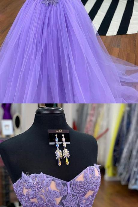 Purple tulle lace long prom dress, purple evening dress M7376