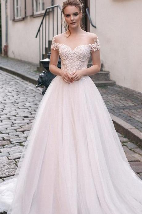 Romantic Off The Shoulder Wedding Dress,Custom Made, Bridal Wedding Gown M7386