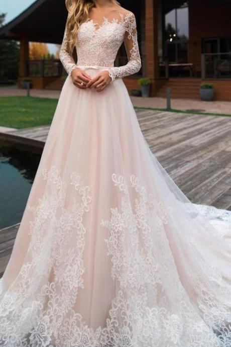 A line long sleeve lace wedding dress M7527