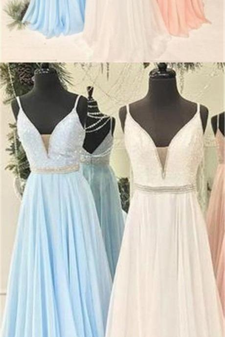 Spaghetti Beaded Long A-line Chiffon V-neck Popular Prom Dresses, M7552