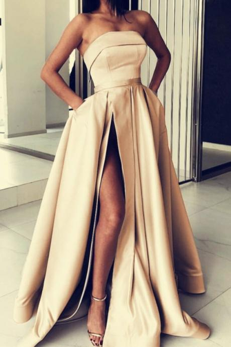 Long Champagne Satin Strapless Evening Gowns M7557