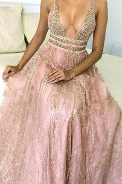 Shiny Sequin Lace Beading Sleeveless A-line Prom Dresses M7604