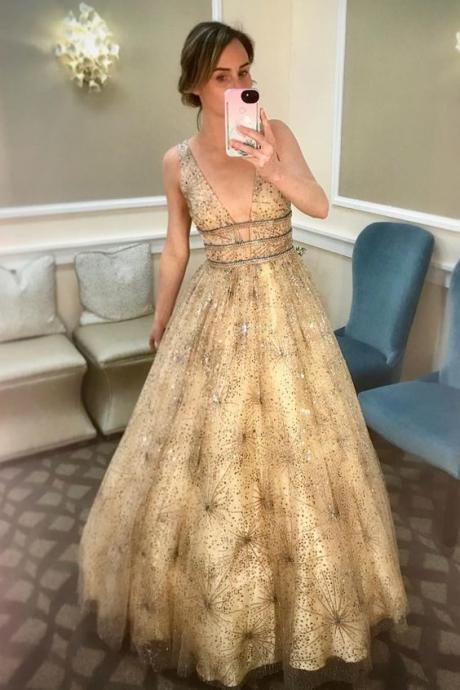 Sparkly Gorgeous A-Line Beading Gold Long Prom dress M7605