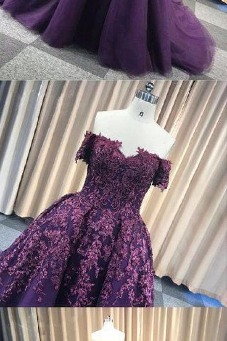 Purple tulle off shoulder strapless sweep train long winter formal prom dress M7774