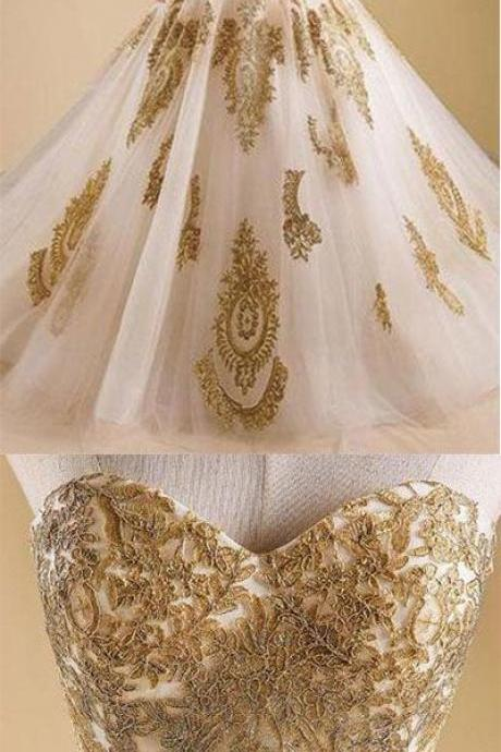 Gold Prom Dress,Lace Prom Dresses,Ball Gown Prom Dresses,Long Prom Dress,Sexy Party Dress,Lace Prom Dress M7908