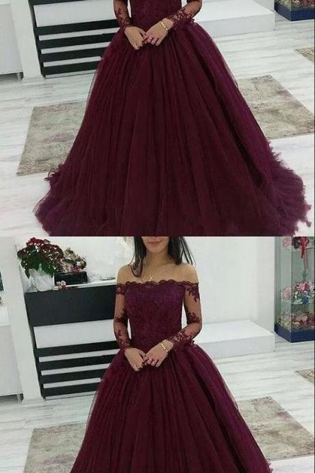 Burgundy Prom Dresses Off The Shoulder Lace Applique Long Sleeves Tulle Evening Dress M7921