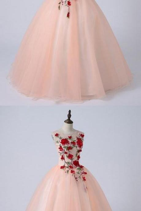 2019 Pink Tulle Round Neck Embroidery Quinceanera Dress, Long Formal Evening Dress, M7927