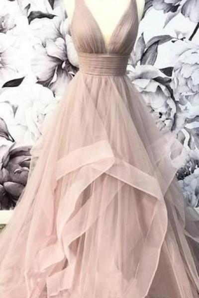 V-Neck Grey Tulle A-line Long Evening Prom Dresses, Cheap Party Custom Prom Dresses M7931
