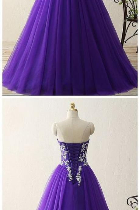 Charming Prom Dress, Sweetheart crystal beads satin tulle floor length ball gown vintage dress M7933