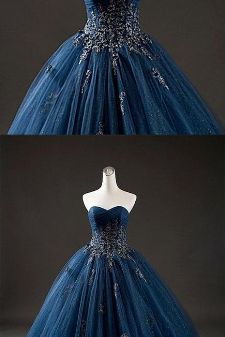 Elegant Navy Blue Tulle Sweetheart Neck Long Formal Prom Dress With Lace Applique M7934