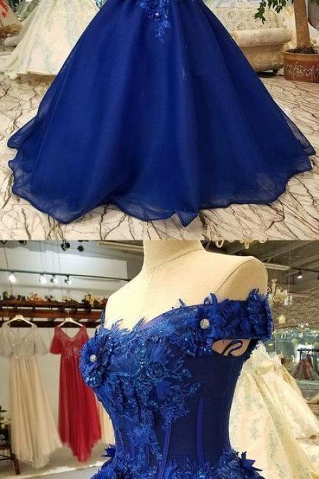 Royal blue tulle off shoulder long lace applique senior prom dress with sleeve M7935