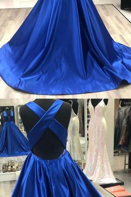simple royal blue long prom dress with cross back, 2019 prom dress, satin prom dress, graduation dress party dress M7944