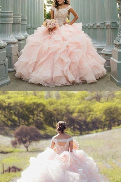 Pink ball gown prom dress M7951