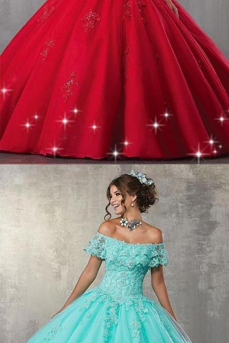 Gorgeous Tulle Off-the-shoulder Neckline Ball Gown Quinceanera Dress With Beaded Lace Appliques M7952