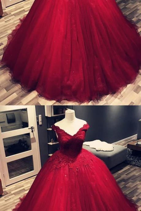 Charming Wine Red V Neck Lace Tulle Wedding Dress, Appliques Ball Gown Prom Dresses M7953