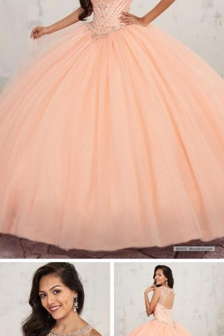 Tulle quinceanera ball gown features basque waisted bodice with scoop neck and bead M7959