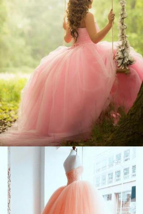 Pink Coral Lace Beading Tulle Ball Gowns Quinceanera Dresses M7960