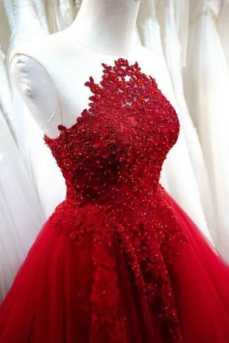 Charming Prom Dress,Sexy Prom Dress,Red A Line Prom Dress,Tulle Evening Dress M7963