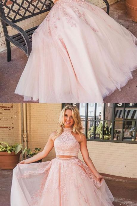 Beautiful Elegant Prom Dresses Two Piece, Long Formal Dresses Pink, A Line Pageant Dress M7964