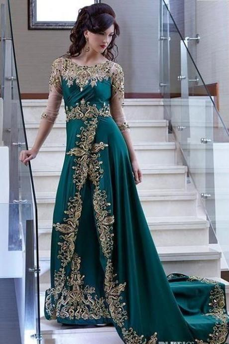 Hunter Green Evening Dresses Sheer Long Sleeves Gold Lace Appliqued Embroidery Beaded Celebrity Prom Dress Formal Party Gowns M7967
