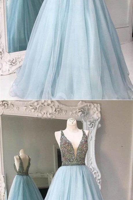Simple Light Blue V-Neck V-Back Long A-Line Tulle Prom Dresses With Rhinestones, Cheap Prom Dresses M7985