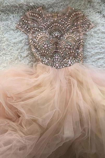 Princess Cap Sleeves Pink Tulle Ball Gown M8006