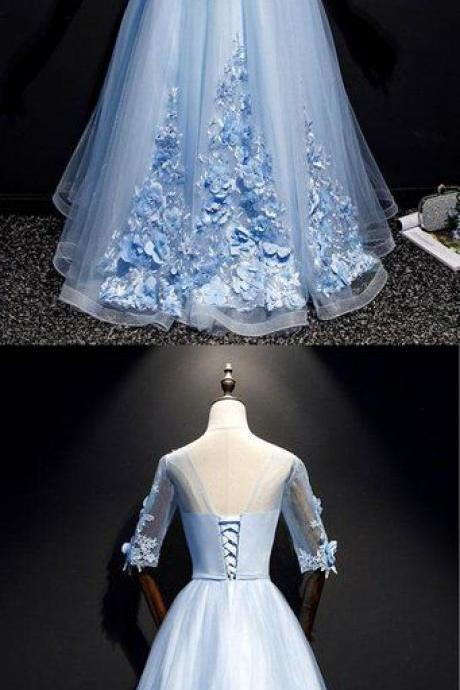 Blue Tulle Lace Applique Mid Sleeve Long A Line Sweet 16 Prom Dress, Evening Dress M8014