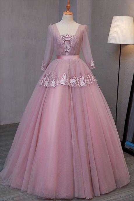Smoking pink V neck long evening dress with appliqués, long sleeves lace up winter formal prom dress M8019