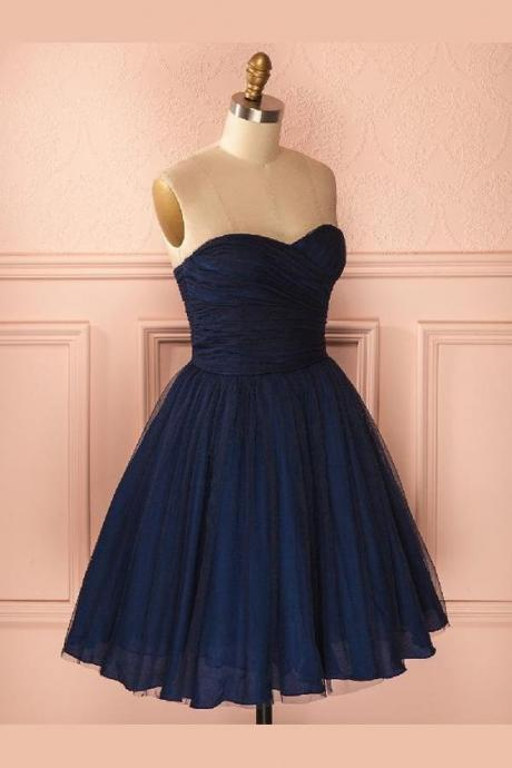 l Navy Blue Homecoming Dresses, Strapless Sweetheart Short Navy Blue Tulle Homecoming Dress M8115
