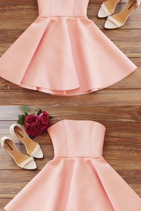 Simple Strapless Sleeveless Pink Short Homecoming Dress M8148