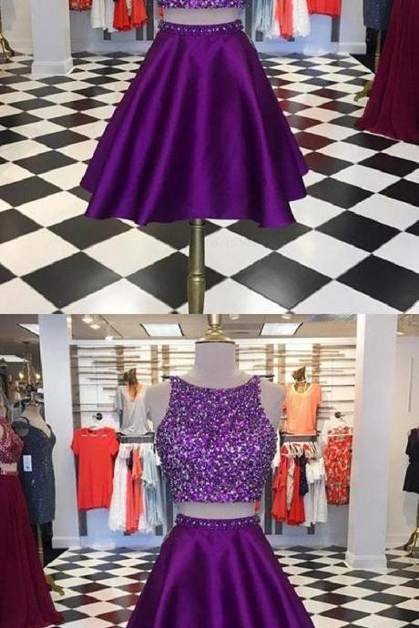 Short Prom Dresses Purple Two Pieces Sequin Short Prom Dress, Purple Homecoming Dress M8152