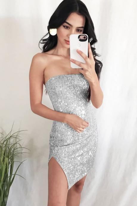 Women Silver Glitter Sequin Slit Hem Sexy Bodycon Party Dress M8194