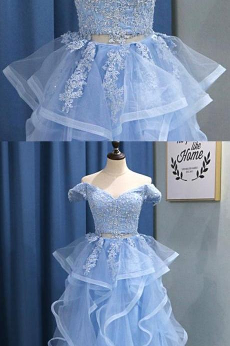 Baby Blue Tulle Off Shoulder Lace Two Pieces Ruffles Long Prom Dress, Evening Dress M8211