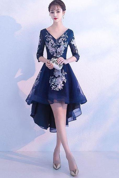 Dark blue v neck tulle lace short prom dress, homecoming dress M8236