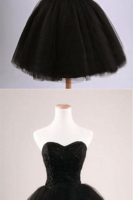 BALCK BALL GOWN STRAPLESS TULLE SHORT PARTY DRESS M8290