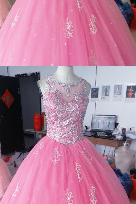 baby pink tulle ball gowns quinceanera dresses crystal beaded M8296