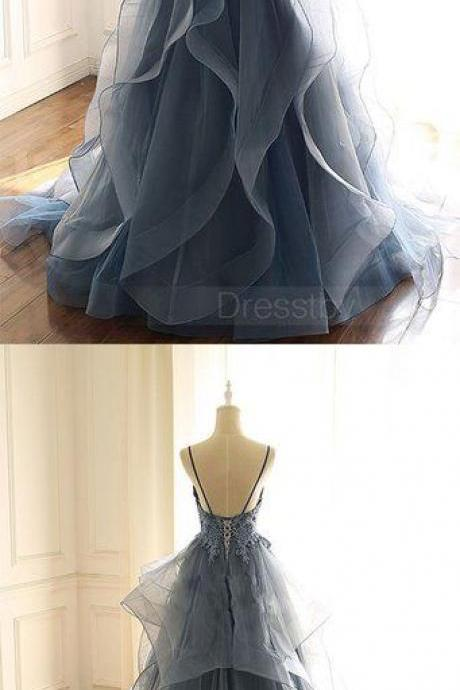 Gray blue tulle lace long prom dress, blue evening dress M8323