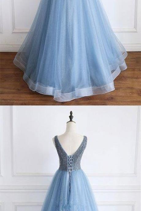 Blue v neck beads sequin tulle long prom dress, blue evening dress, blue formal dress M8324