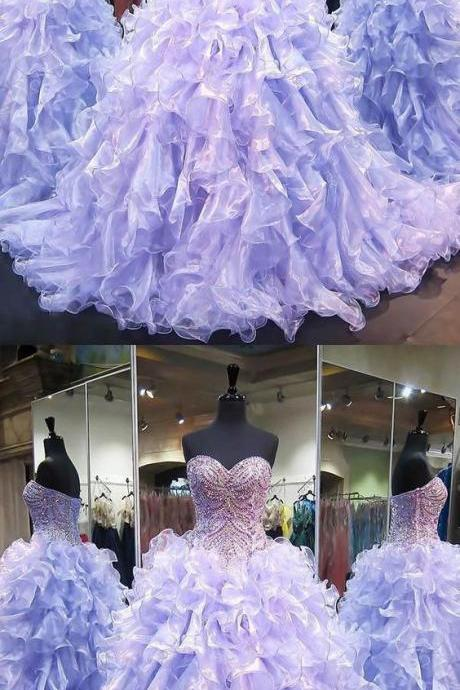 Cheap Light Ball Gown Dress Shiny Lilac Quinceanera Dresses 2019 Sweetheart Sparkly Rhinestones Puffy Ruffles Ball Gown Vestidos De Quinceañera Sweet 15 M8345
