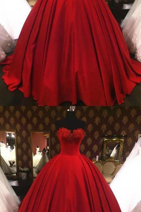Dark Red Quinceanera Dresses With Lace Appliques Satin Strapless Ball Gowns Sweet 16 Dresses M8365